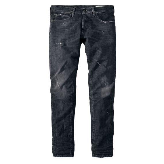 Jeans mit schmal zulaufendem Bein und Used-Effekten von THE NIM
