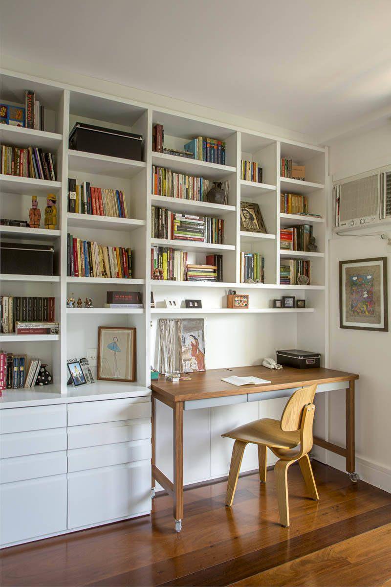 Apartamento lac escritrios por raquel junqueira arquitetura em 2019  Quartos  Estante escritorio Escritrio em Casa e Armario escritorio