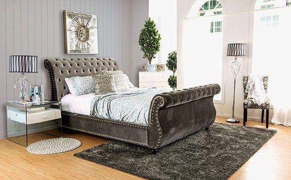 Furniture Of America Noella Gray King Bed Bed Frame Sets