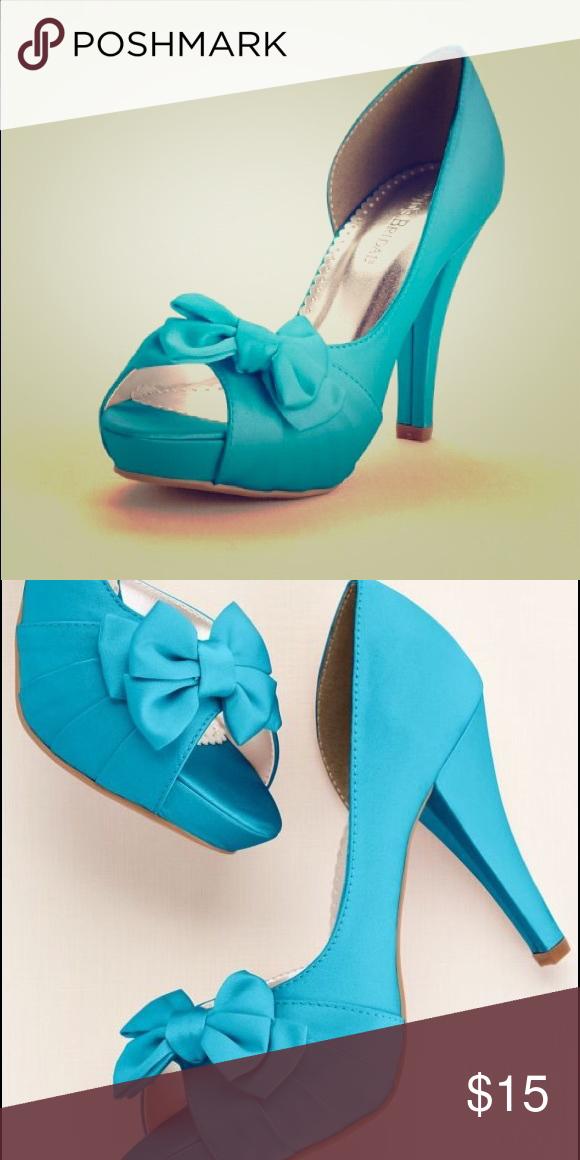 Malibu blue heels Satin Peep Toe Platform High Heel with Bow ...