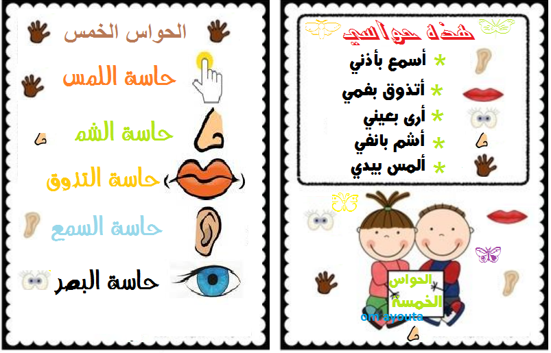 الحواس الخمس Learning Poster Shape Activities Preschool Learning Arabic
