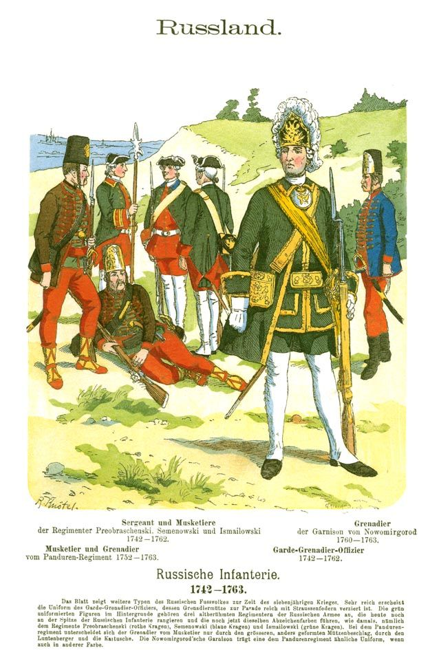Rußland. Russische Infanterie. 1742-1763.