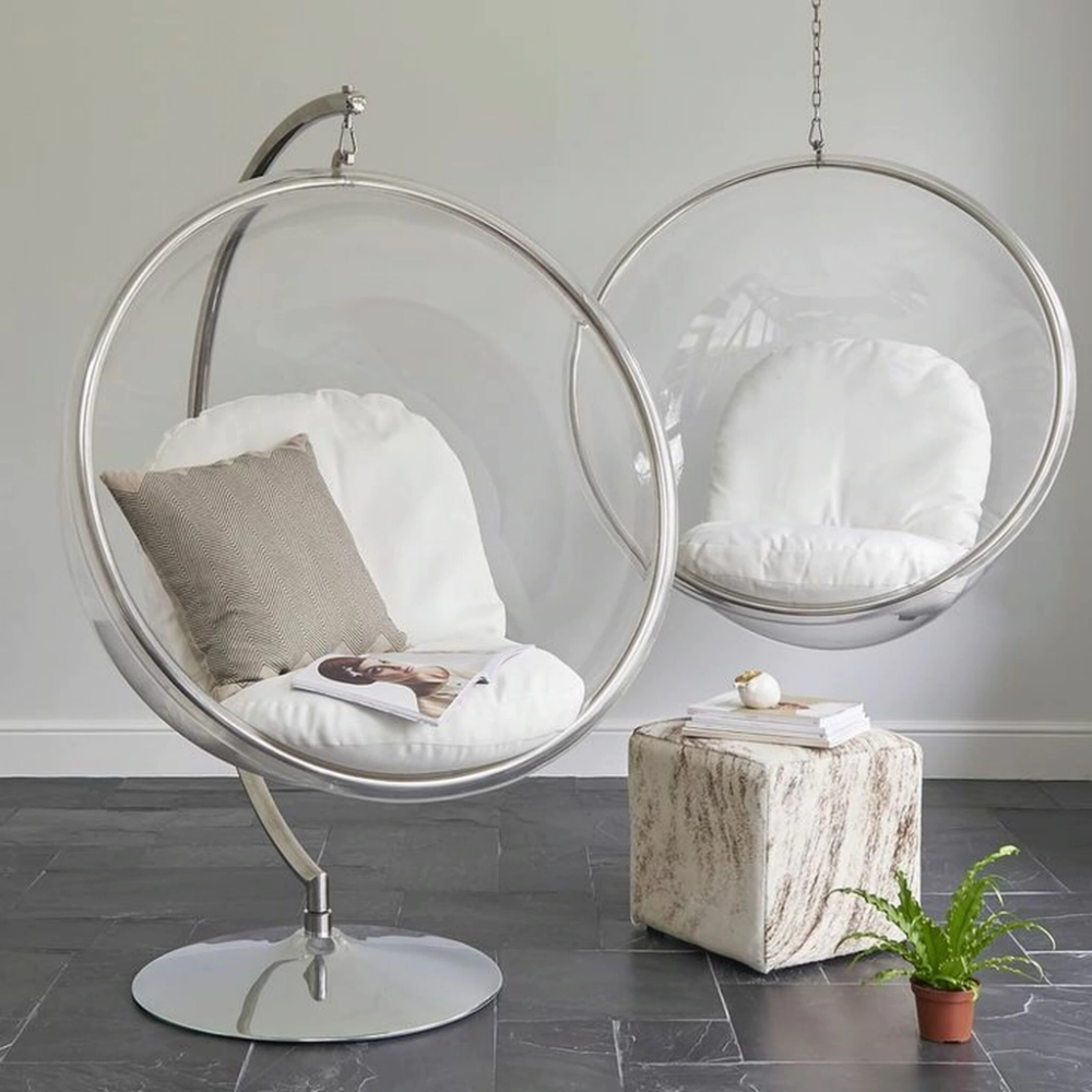 Clear Bubble Chair With Chrome C Stand And White Cushions In 2021 Bubble Chair Hanging Chair Hanging Swing Chair
