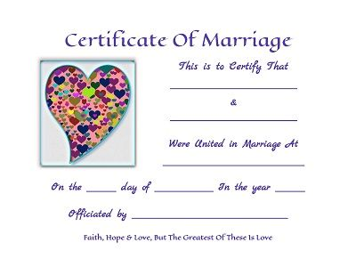 Marriage Certificate Free Template  Faith, Hope And Love, But