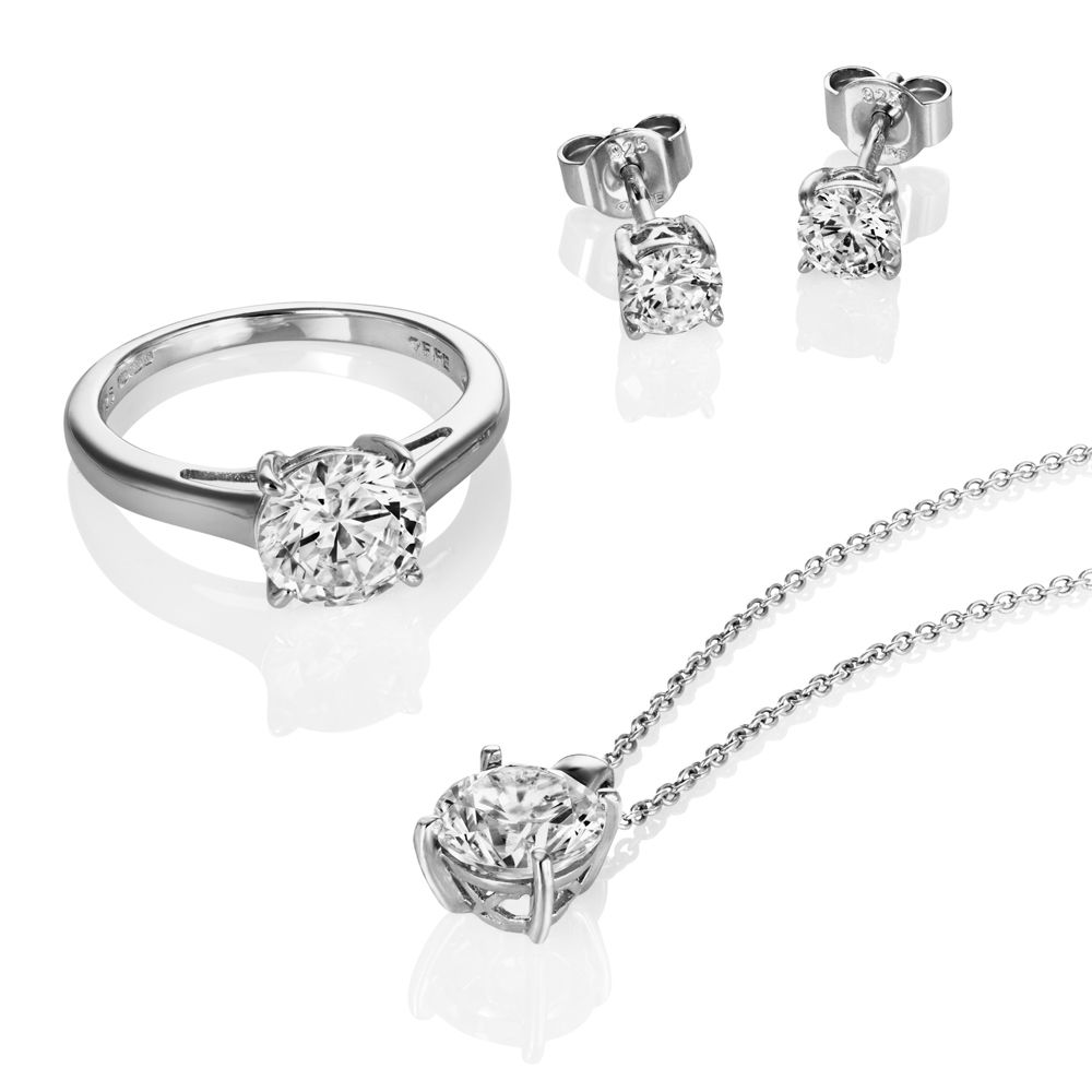 Solitaire Round Cut Diamond Ring Earring And Necklace Set In 18 K White Gold All Of Our Designer Matching Sets Are Hand Made Available