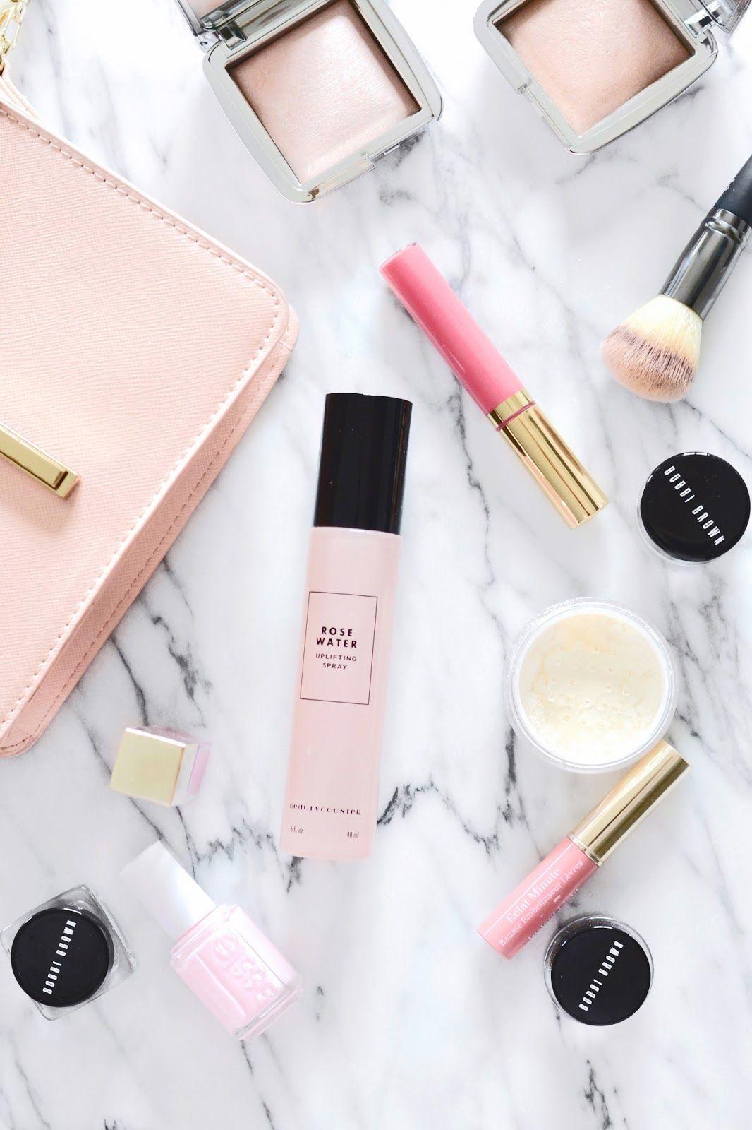 beautycounter rose water spray and beautycounter lip gloss