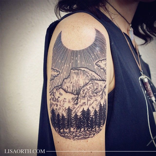 Lisa Orth On Instagram Yosemite Half Dome Scene For Kristy Done At Incognito Tattoo Los Angeles Artwork And Pho Woodcut Tattoo Scenic Tattoo Tattoo Artists