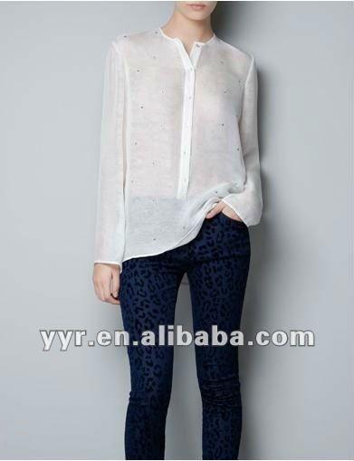 b8e9cdc10 otoño de manga larga de doble capa de seda blusa de apliques-Blusas ...