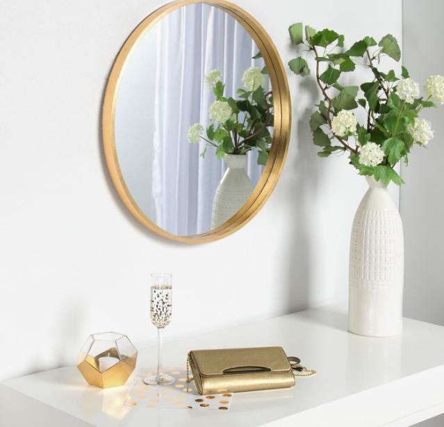 26 X 26 Travis Round Wood Accent Wall Mirror Gold Kate And Laurel Wood Accent Wall Mirror Wall Decor Decor