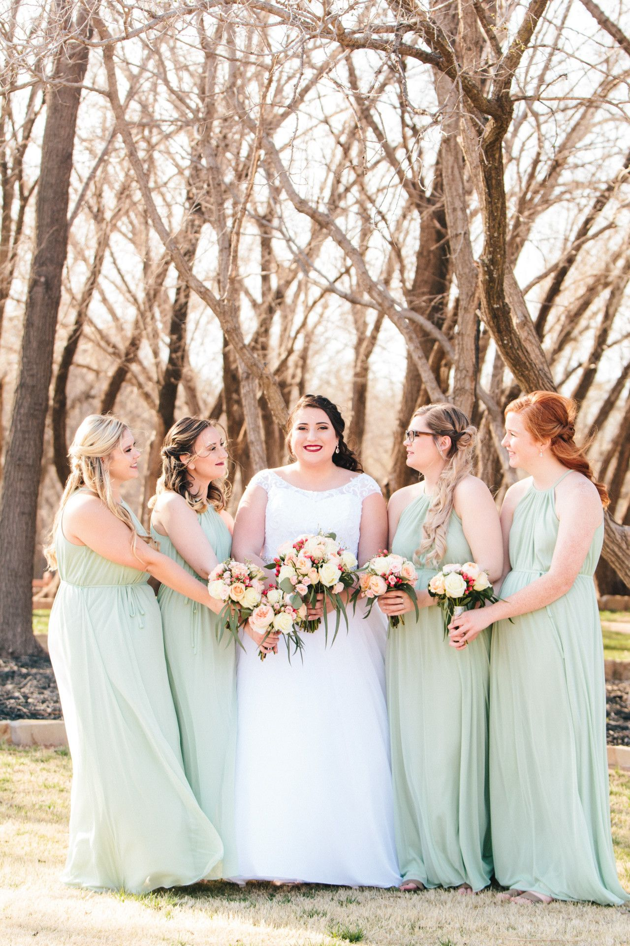 long, mint green bridesmaid dresses | spring wedding color ideas ...