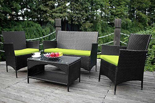 Pleasant Merax Outdoor Garden Furniture Set 4 Piece Patio Pe Rattan Lamtechconsult Wood Chair Design Ideas Lamtechconsultcom