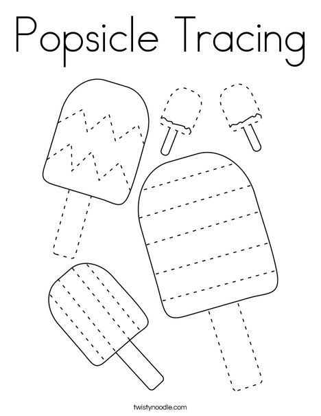 Popsicle Tracing Coloring Page - Twisty Noodle | Pre ...