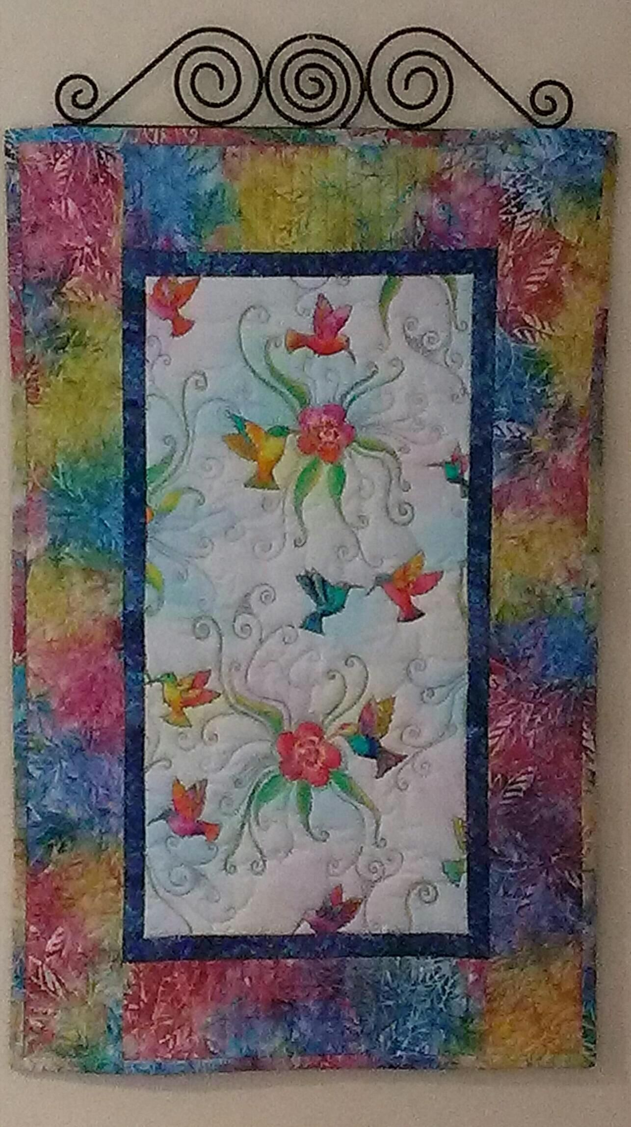 Handmade hummingbirdbatik wall hanging freemotion quilted my