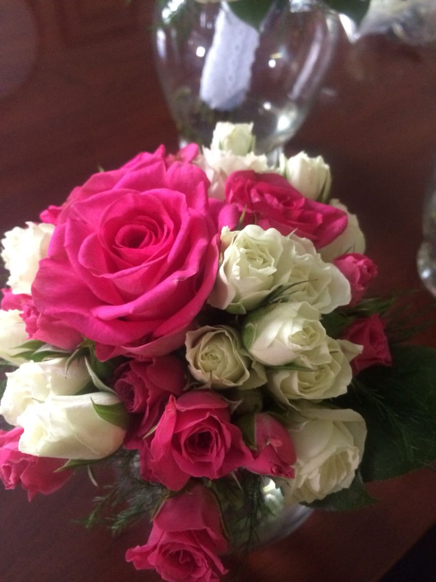 Wonderful bridesmaid bouquet of hot pink and ivory roses  #thewillowsbywehr 330.482.2223  Columbiana Ohio