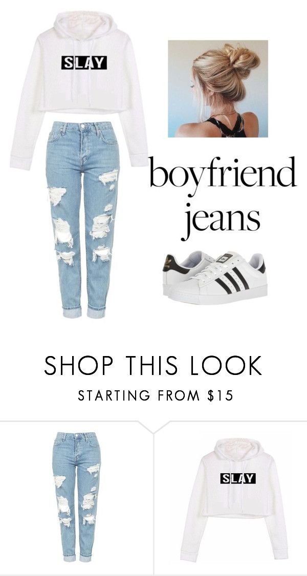"""boyfriend jeans"" by vivianthai ❤ liked on Polyvore featuring Topshop and adidas"