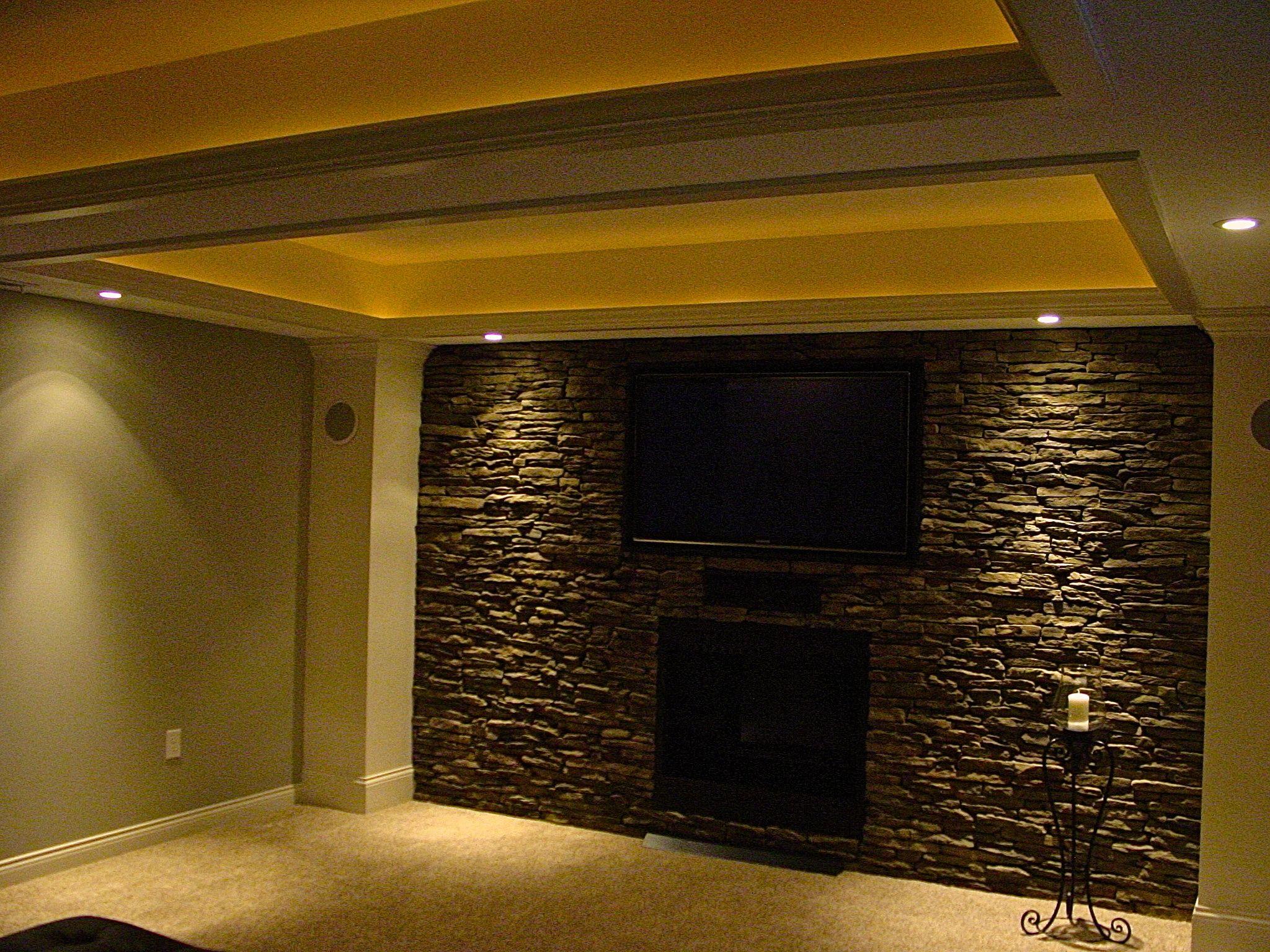 Basement I finished . Faux stone wall … | Pinteres…