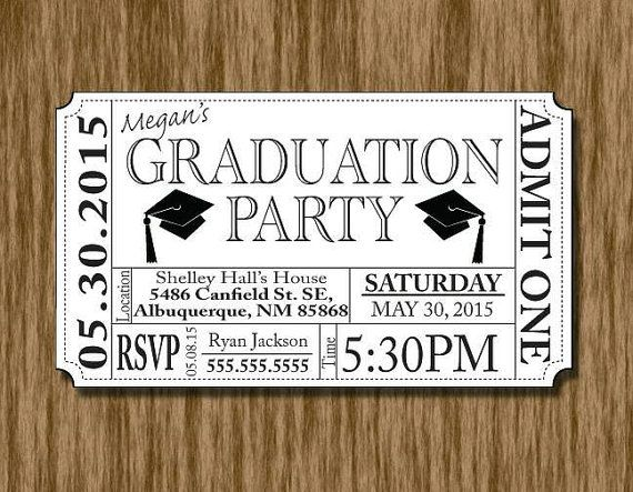 graduation party invitation ticket template grad party pinterest