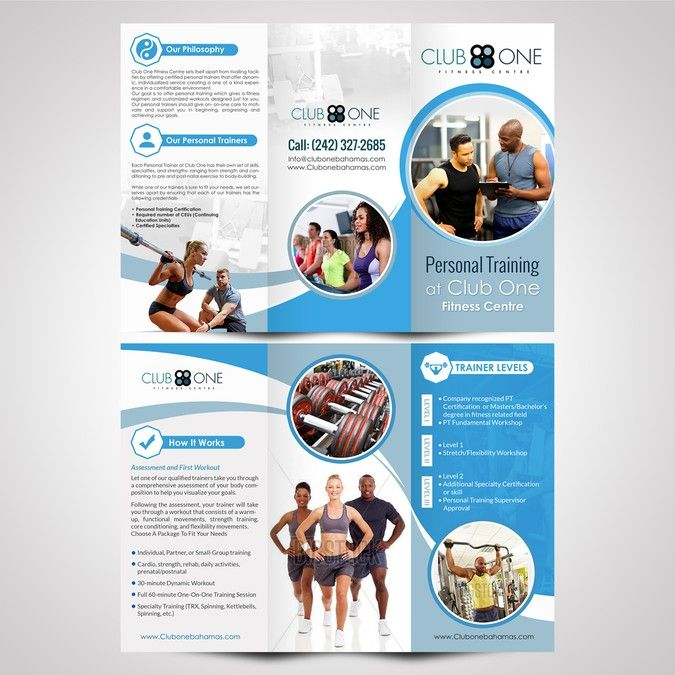 Create a modern and exciting brochure for Club One Fitness Centre by