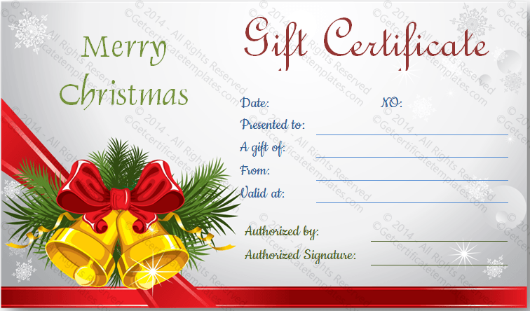 download options for christmas bells gift certificate template – Christmas Gift Certificate Template Free