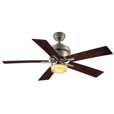 Hampton Bay Bryant 46 In Ceiling Fan Cf546kr At The Home Depot Ceiling Fan Ceiling Fan Bedroom Brushed Nickel Ceiling Fan