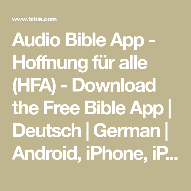 Audio Bible App - Hoffnung für alle (HFA) - Download the