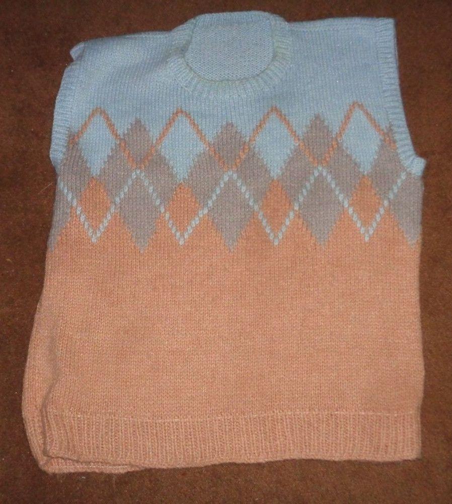 8fa92dc47 Light Blue   Tan Peach Knit Sleeveless Sweater Men s XL  fashion ...