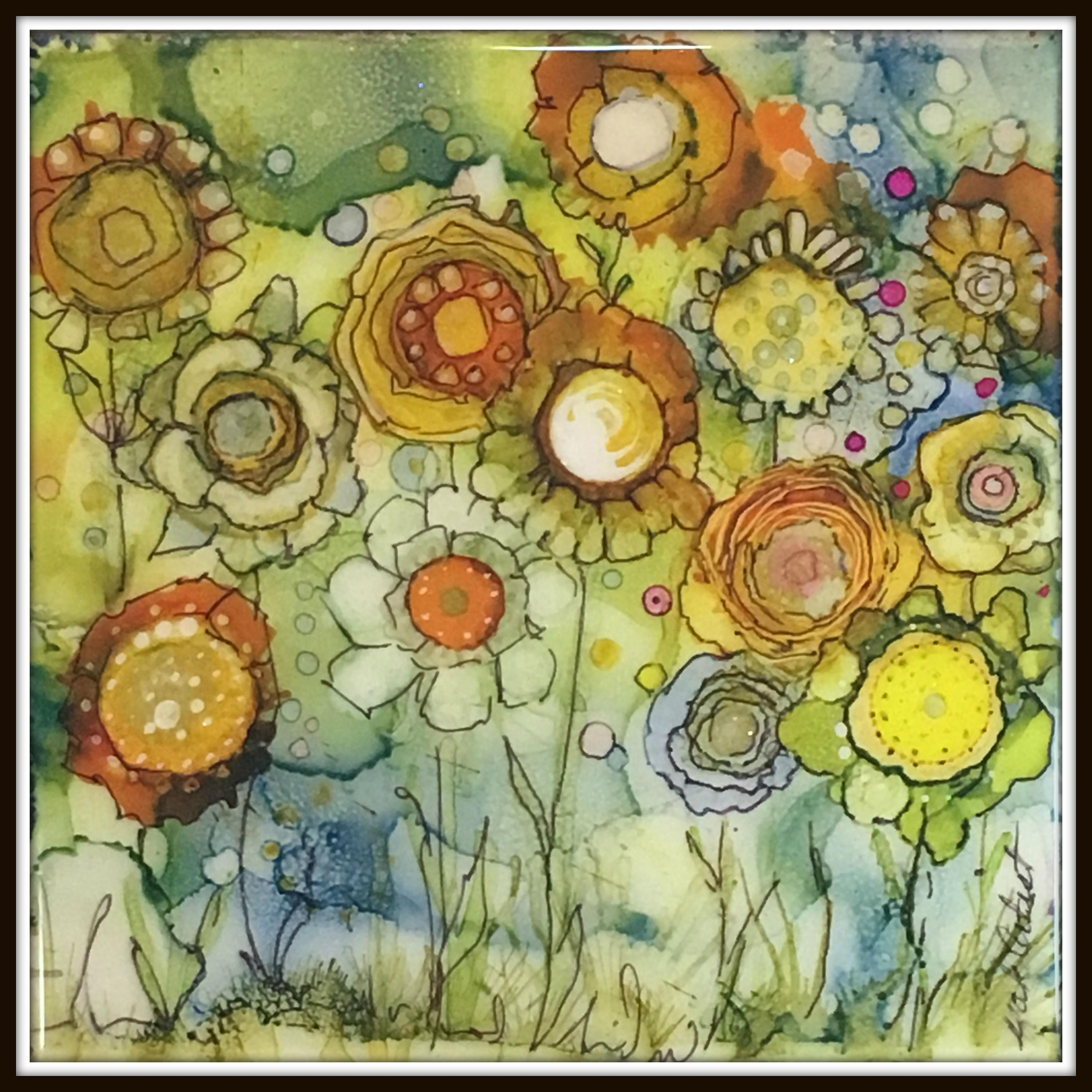 Wild Flowers Painting, Alochol Ink Floral Painting, Watercolor ...