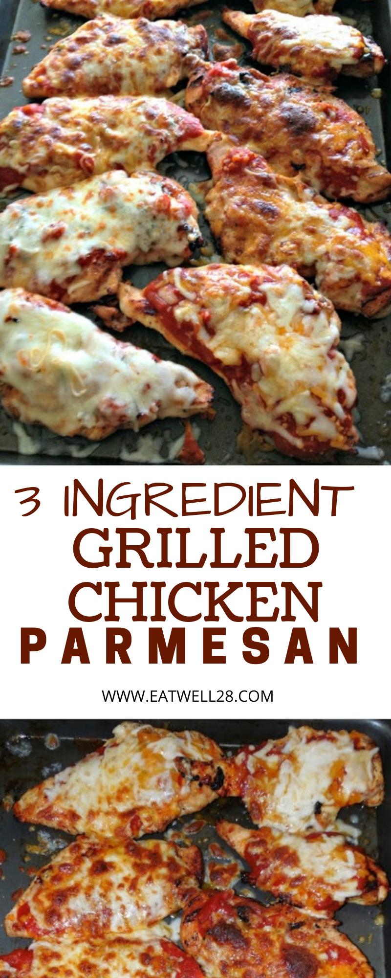 3 Ingredient Grilled Chicken Parmesan - eatwell28 #grilledchickenparmesan