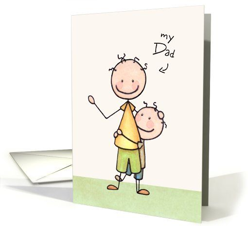 Father Birthday Card From Son Best Friend Cute Stick Figures Greeting
