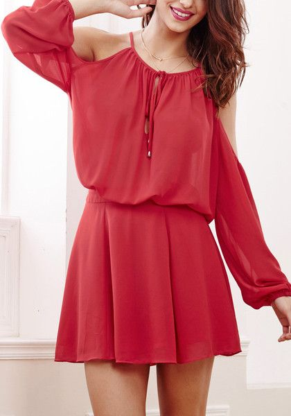 d70111ec10f09 Flaunt your best asset with this red cold shoulder dress. It features  bishop sleeves.