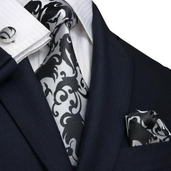 gray and black floral necktie set jpm91f toramon necktie company