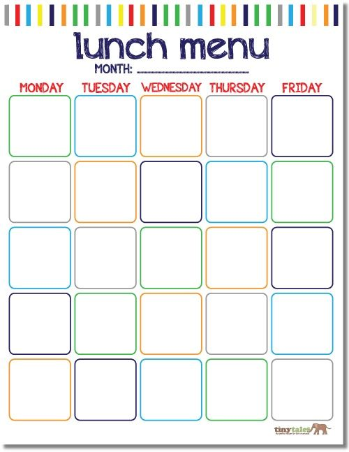 School Lunch Printable Free School Lunch Calendar Printable