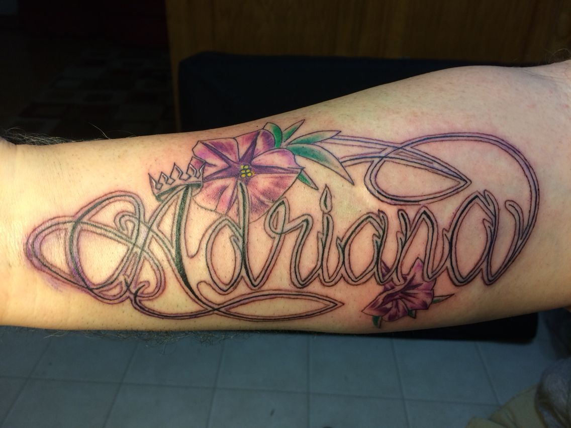 Adriana name with morning glory flowers