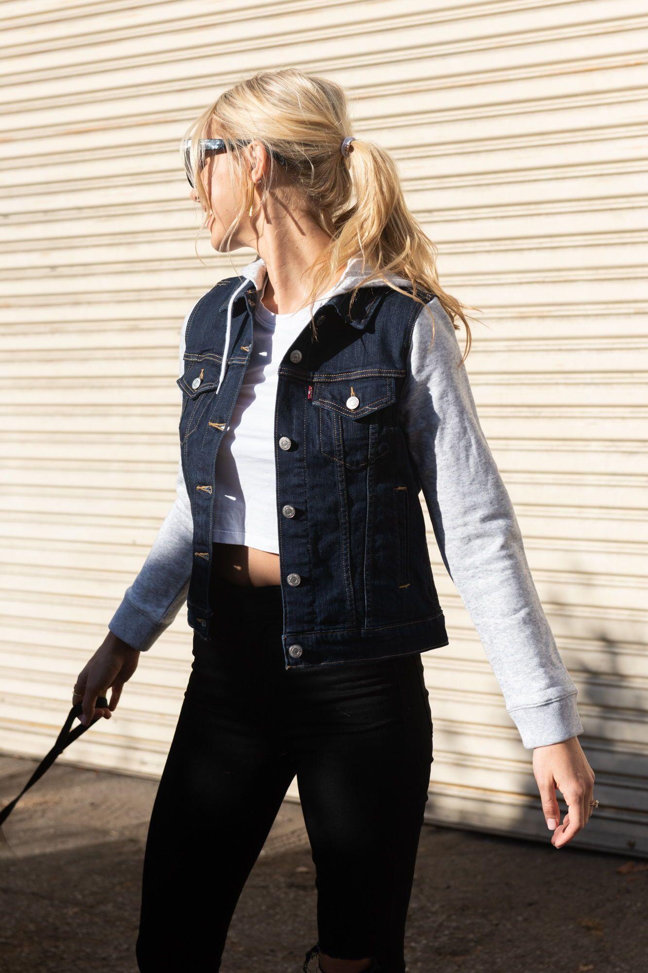 Hybrid Original Trucker Jacket In Dark Blue Dark Blue Denim Jacket Blue Jean Jacket Outfits Denim Hoodie [ 2000 x 1333 Pixel ]