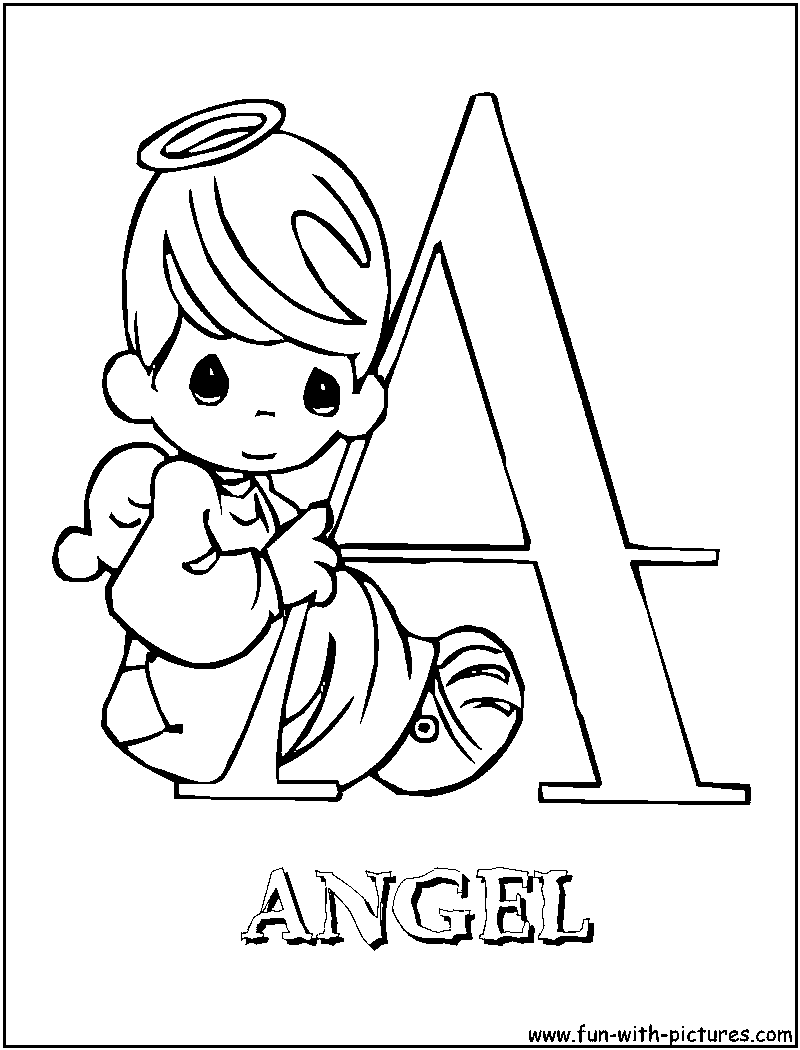A for angel Precious Moments Alphabet Coloring Pages Free