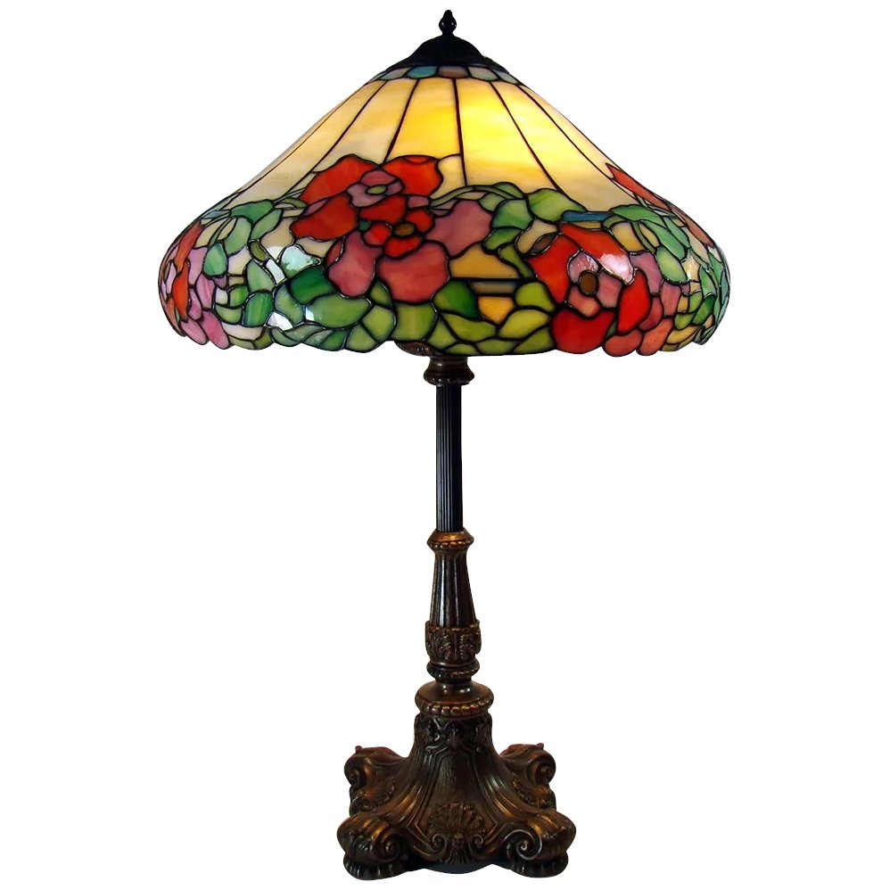 Antique Large Electric Table Lamp With Leaded Glass Shade Stained Glass Lamp W Red Flowers 1920 S