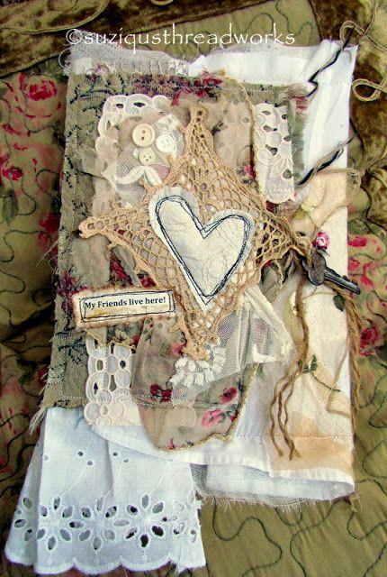 Suziqu's Threadworks: Shabby Book Wrap for a Handmade Paper Address Book