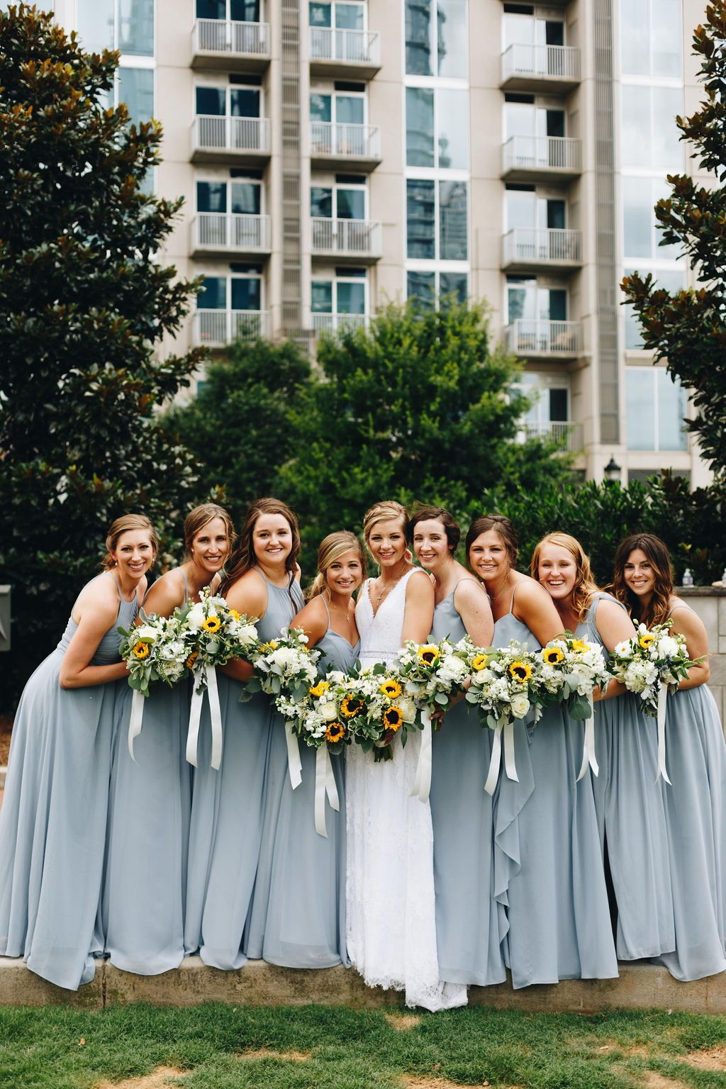Dusty Blue Wedding With A Classic Style And Summery Whimsical Touch In The Heart Of The C Blue Sunflower Wedding Sunflower Themed Wedding Wedding Themes Summer [ 1536 x 1024 Pixel ]