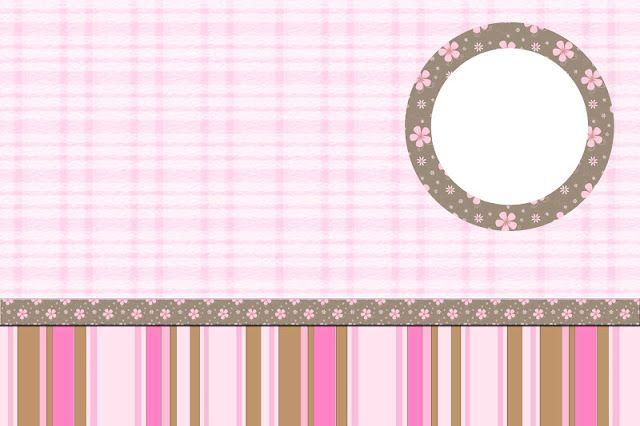 Flores e Listras Marrom e Rosa – Kit Completo com molduras para convites, rótulos para guloseimas, lembrancinhas e imagens!