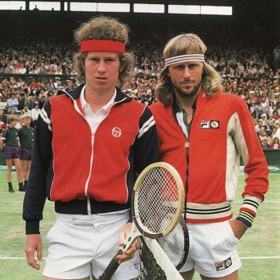 John McEnroe and Bjorn Borg Candid BW POSTER