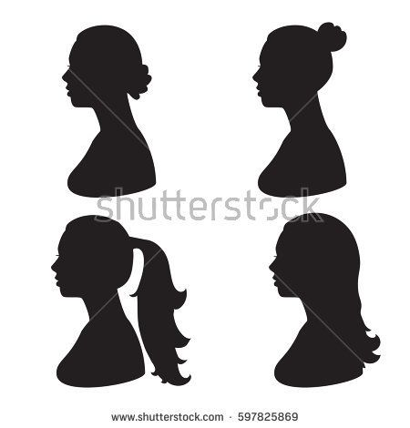 vector set silhouette of woman head black illustration of side view
