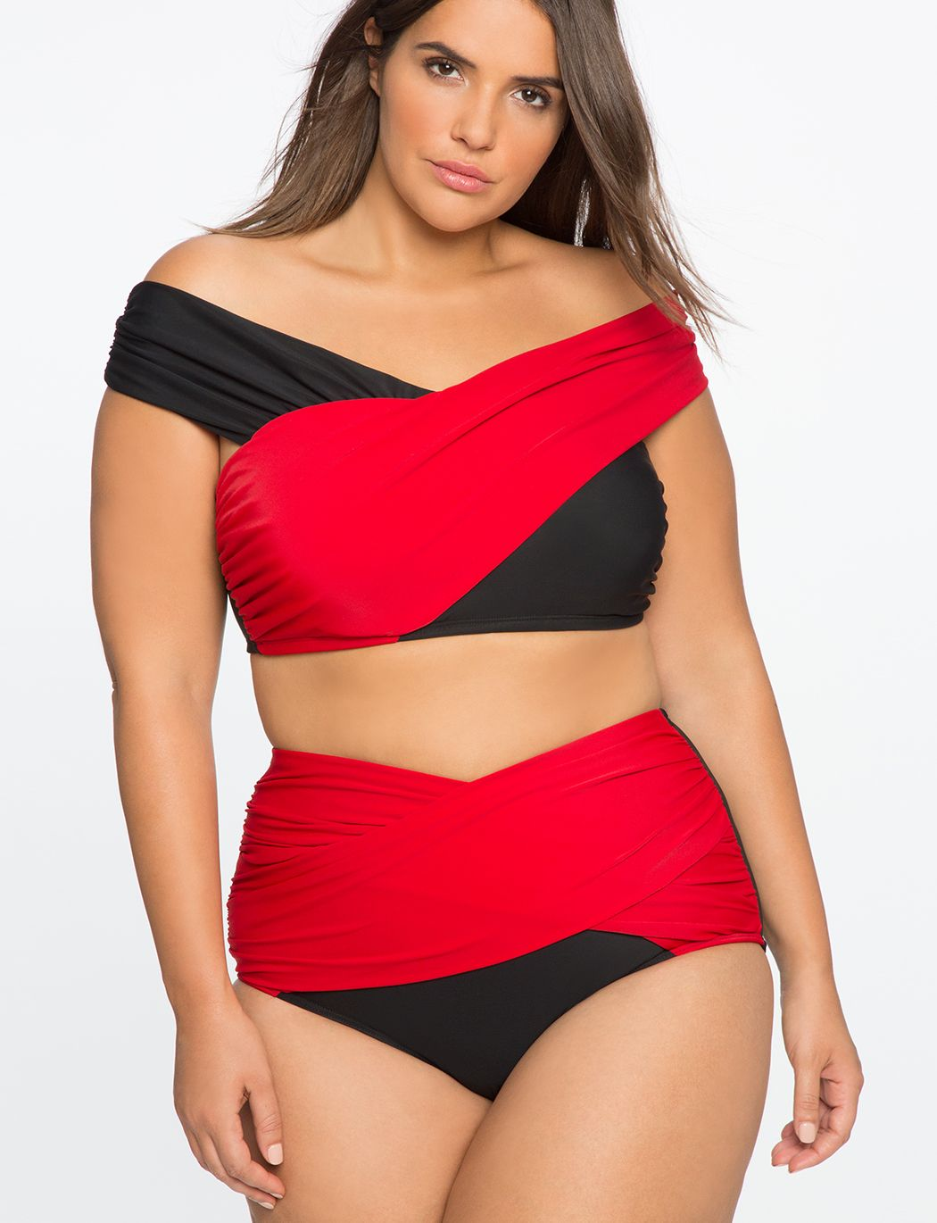 a042b748f8992 Plus Size Swimwear - Plus Size Off The Shoulder Cross Front Bikini Sexy  full figured swimsuit (plus size)  fatkini