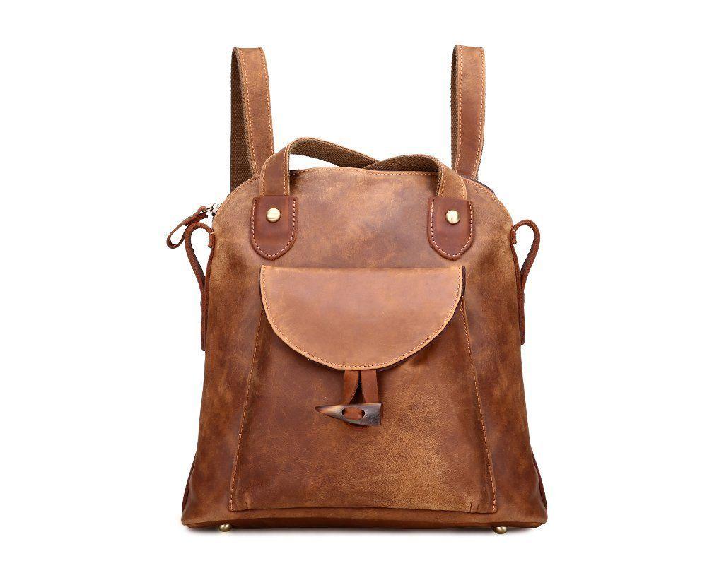 Damen Retro Leder Vintage Rucksack Tasche 2 in 1 Lederrucksack #Ledertasche #Lederrucksack #Damen #Schultertasche #Leder #Rucksack Für Mädchen: #Sport & #Freizeit #Vintage