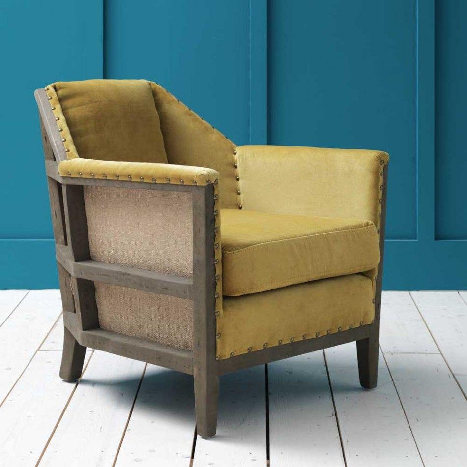 Hoxton Armchair In Mustard Velvet