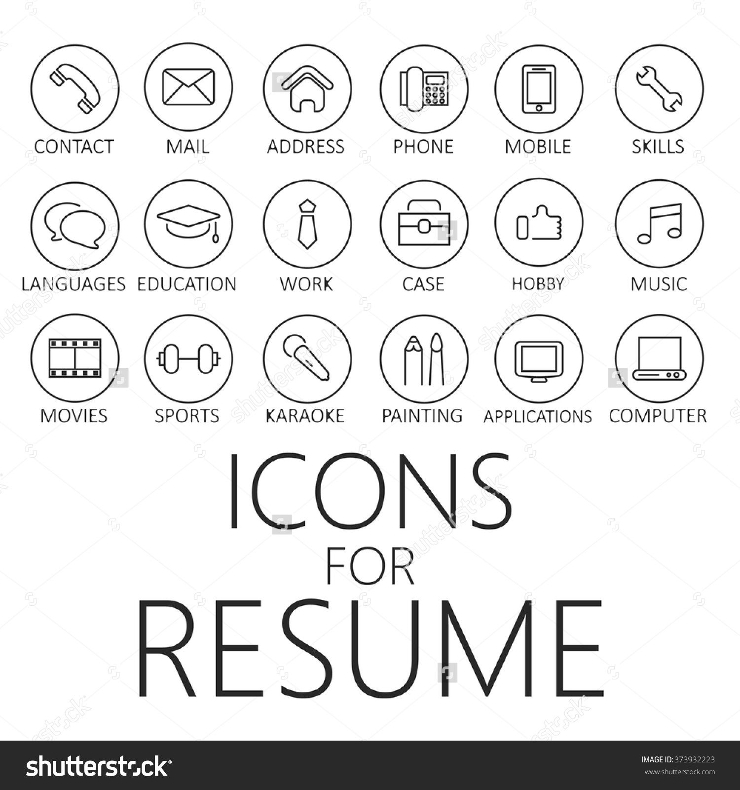 thin line icons pack for cv resume job - Hobbys Fur Lebenslauf