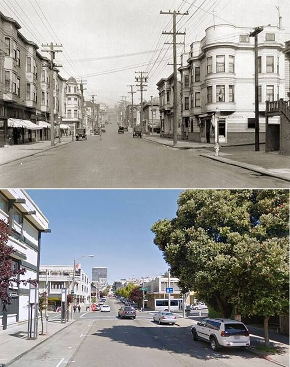1927 - Laguna Street, between Geary and Post, facing north - For many years at the turn of the last century, this was a predominantly Jewish neighborhood. Today it is in the heart of the Japanese community. - Source: S.F. Public Library