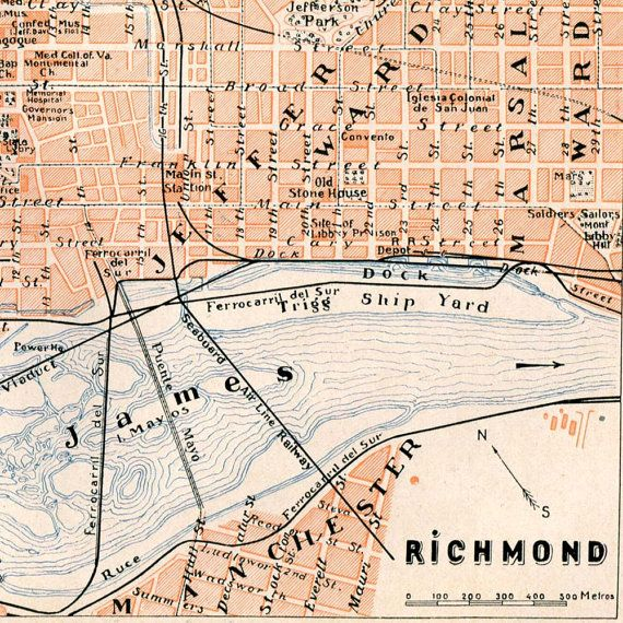 Richmond Virginia Vintage City Map 1920s Street by ...