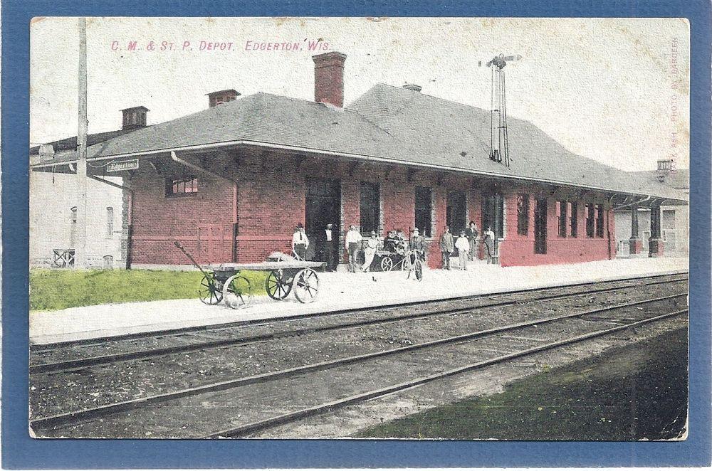 Edgerton,Rock County,WI Wisconsin C.M.& St.P Railroad Depot