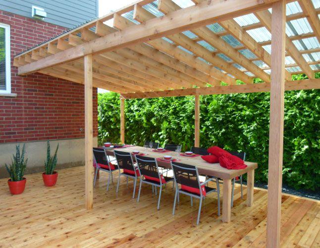 Une terrasse avec deux pergolas am nagement ext rieur pinterest modele de terrasse abri - Emission americaine renovation maison ...
