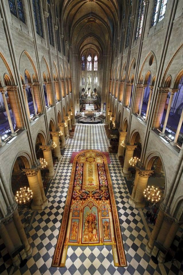 Cathedrale Notre Dame De Paris Exceptional Exhibition Of The Carpet Of The Choir In The Nave Of The Cathed Paris France Cathedrale Notre Dame De Paris Paris